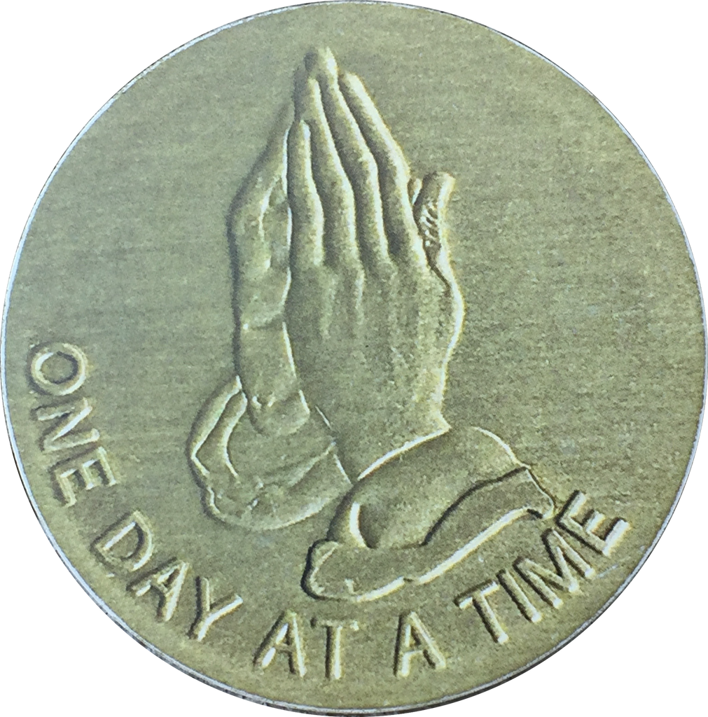 Praying Hands One Day At A Time Medallion Auto Car Coaster Absorbent Stone RecoveryChip Design - RecoveryChip
