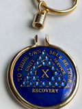 Keychain AA Medallion Holder For Recovery Mint Tri-Plate Chips Gold Plated - RecoveryChip