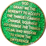 1 Year AA Medallion Reflex Glitter Green Gold Plated Sobriety Chip - RecoveryChip