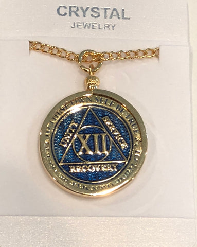 "AA Medallion Sobriety Chip Holder Necklace 24/"" Gold Plated"