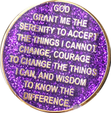 1 Year AA Medallion Reflex Glitter Purple Gold Plated Sobriety Chip - RecoveryChip