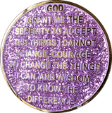 1 3 4 or 8 Year AA Medallion Reflex Glitter Lavender Purple Gold Plated Sobriety Chip - RecoveryChip