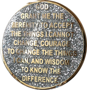1 2 3 6 9 or 18 Month AA Medallion Reflex Silver Glitter Gold Plated Sobriety Chip