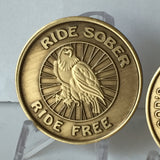 Ride Sober Ride Free Eagle Biker Serenity Prayer Medallion Chip Coin - RecoveryChip