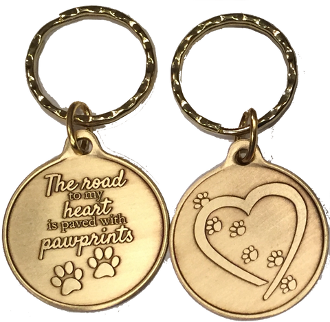 The Road To My Heart Is Paved With Paw Prints Small Hearts Paw Print Keychain Dog Cat Gift