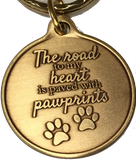 The Road To My Heart Is Paved With Paw Prints Double Paw Print Bronze Pet Keychain - RecoveryChip