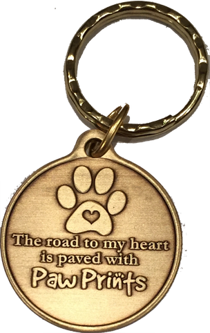 The Road To My Heart Is Paved With Paw Prints Heart Paw Print Keychain Dog Cat Gift - RecoveryChip