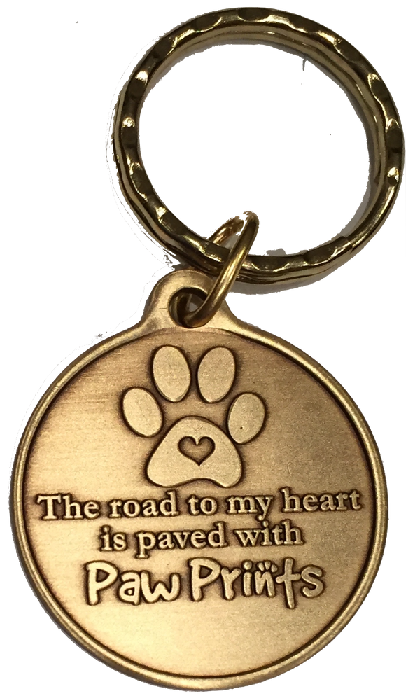 The Road To My Heart Is Paved With Paw Prints Dog Pet Large Paw Print Bronze Keychain Paw Print Design - RecoveryChip