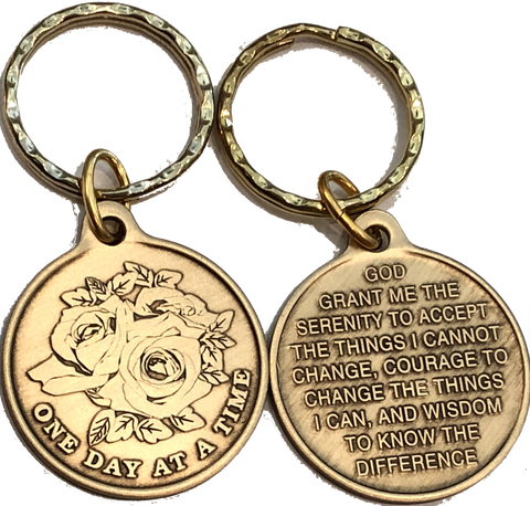 Rose One Day At A Time Bronze Sobriety Keychain AA NA - RecoveryChip