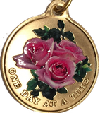 Pink Rose One Day At A Time Keychain Sobriety Chip AA NA - RecoveryChip