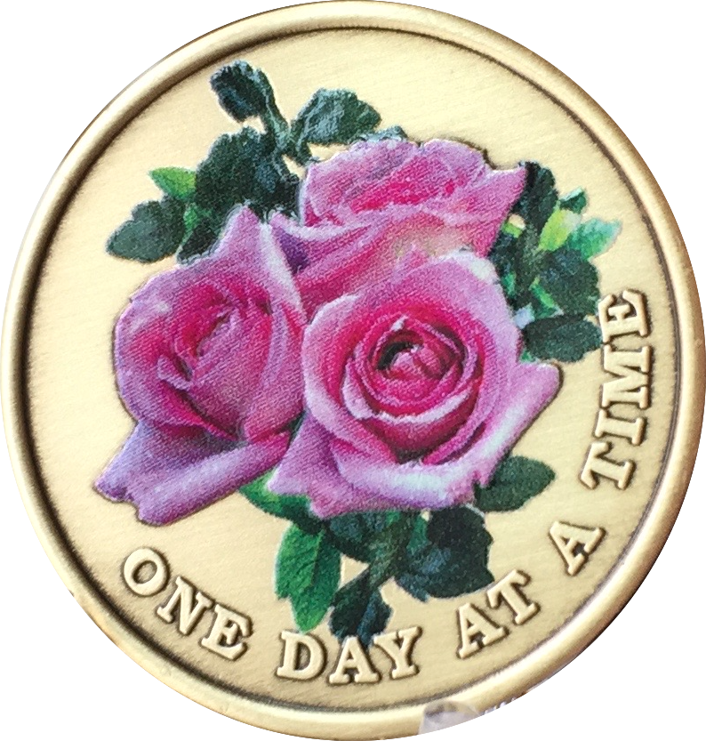 Pink Rose One Day At A Time Medallion Sobriety Chip AA NA - RecoveryChip