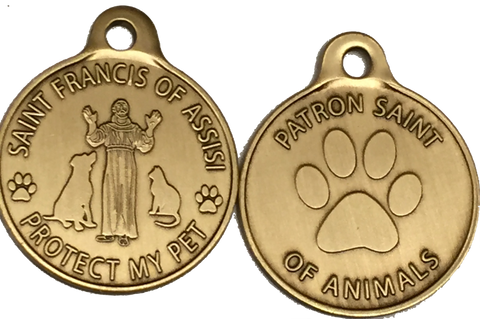 Saint Francis of Assisi Protect My Pet / Patron Saint Of Pets Dog Tag Charm Bronze - RecoveryChip