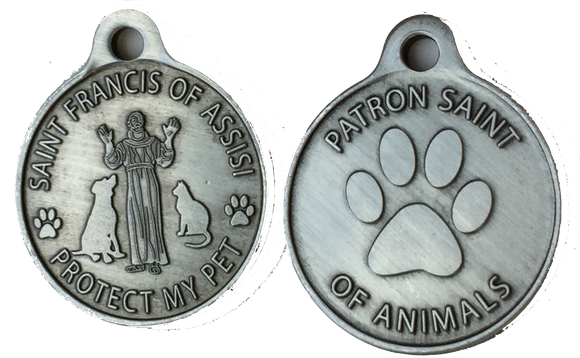 Saint Francis of Assisi Protect My Pet / Patron Saint Of Pets Dog Tag Charm Pewter Color Nicodium - RecoveryChip
