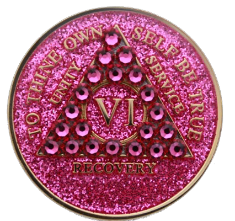 Crystallized AA Medallion Pink Glitter Tri-Plate Sobriety Chip Year 1 - 50 - RecoveryChip