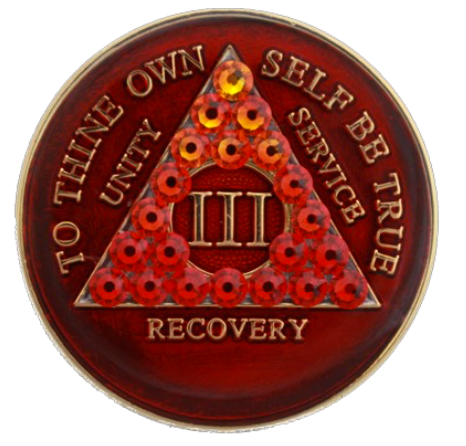 Crystallized AA Medallion Transition Red Tri-Plate Sobriety Chip Year 1 - 50 - RecoveryChip