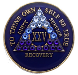 Crystallized AA Medallion Transition Blue Tri-Plate Sobriety Chip Year 1 - 50 - RecoveryChip