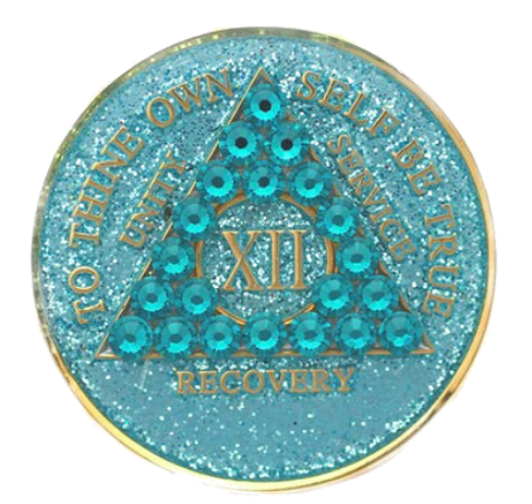 Crystallized AA Medallion Aqua Blue Glitter Tri-Plate Sobriety Chip Year 1 - 50 - RecoveryChip
