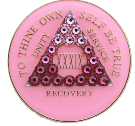 Crystallized AA Medallion Transition Pink Tri-Plate Sobriety Chip Year 1 - 50 - RecoveryChip