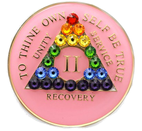 Crystallized AA Medallion Pink Rainbow Tri-Plate Sobriety Chip Year 1 - 50 - RecoveryChip