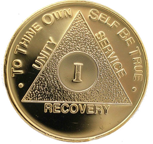 AA Medallion Gold Plated Sobriety Chip Year 1 - 50 - RecoveryChip