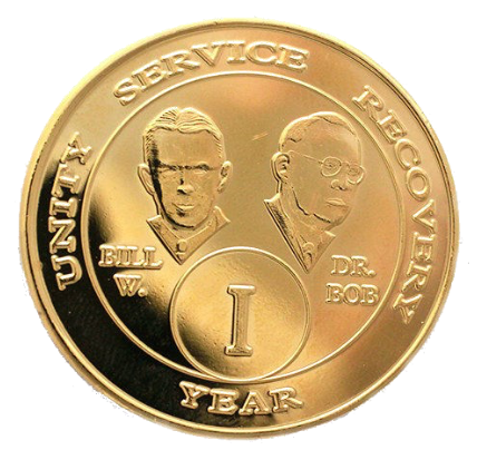 Founders AA Medallion Bill & Bob Gold Plated Sobriety Chip Year 1 - 50 - RecoveryChip