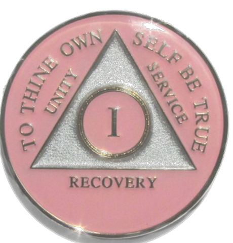 Pink Tri-Plate AA Medallion 24 Hours 18 Month Year 1 - 45 Sobriety Chip - RecoveryChip
