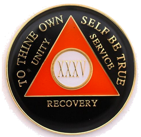 Black Orange Gold Tri-Plate AA Medallion 24 Hours 18 Month Year 1 - 45 Sobriety Chip - RecoveryChip