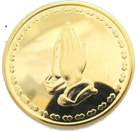 Praying Hands Gold Plated Medallion With Serenity Prayer One Day At A Time Chip - RecoveryChip