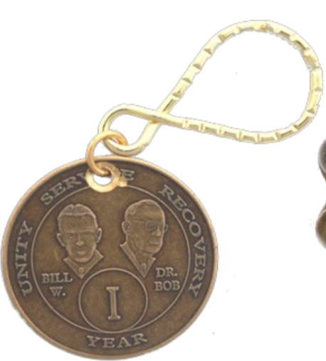 AA Founders Medallion Bronze Keychain Year 1 - 50 Keytag - RecoveryChip