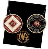 Offical NA Triplate Red & White Color Narcotics Anonymous Medallion 18 Month Year 1 - 50