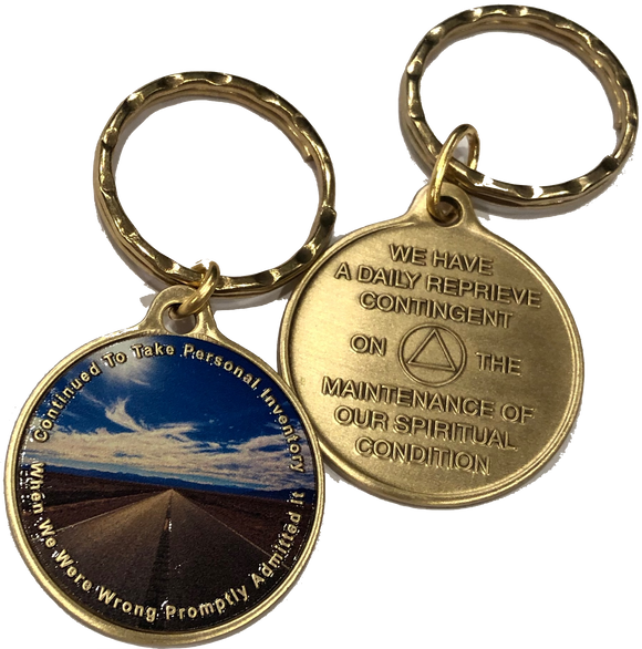 Step 10 Color Personal Inventory Road AA Daily Reprieve Keychain - RecoveryChip