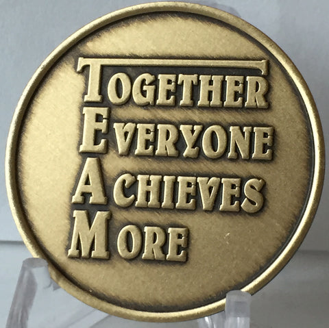 TEAM Together Everyone Achieves More Commitment To Excellence Motivational Bronze Medallion Coin - RecoveryChip