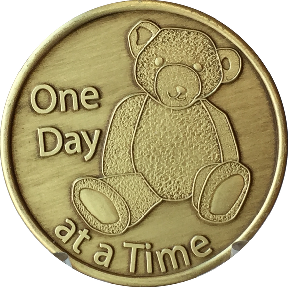 Teddy Bear One Day At A Time Serenity Prayer Bronze Medallion Sobriety Chip - RecoveryChip
