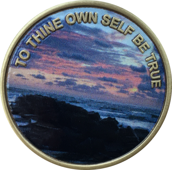 To Thine Own Self Be True Color Beach Sunrise Serenity Prayer Medallion Chip - RecoveryChip