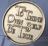 To Thine Own Self Be True - Serenity Prayer Bronze AA Alcoholics Anonymous Medallion Chip Coin - RecoveryChip