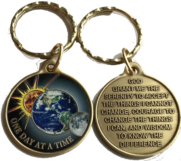 Universe Color One Day At A Time Keychain Serenity Prayer Earth Sun Moon - RecoveryChip