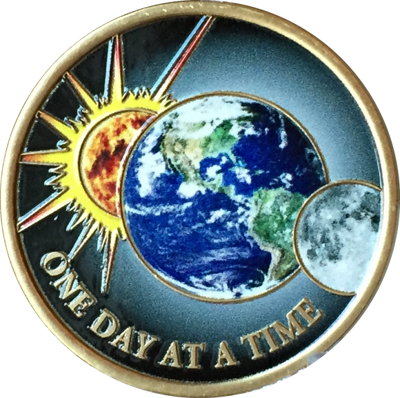 Universe One Day At A Time Color Medallion Sun Moon Earth Serenity Prayer Chip - RecoveryChip