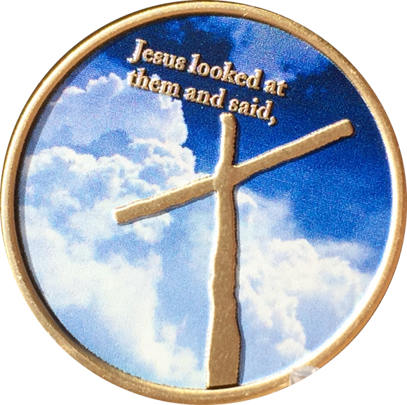 Cross In My Pocket With God All Things Are Possible Medallion Spiritual Coin RecoveryChip Design - RecoveryChip