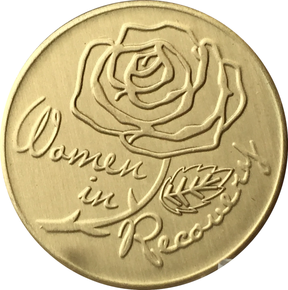 Women In Recovery Rose Serenity Prayer Bronze Medallion Sobriety Chip - RecoveryChip
