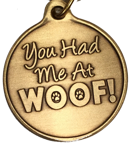 You Had Me At Woof Dog Pet Heart Bronze Keychain Paw Print Design - RecoveryChip