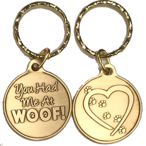 You Had Me At Woof Heart Paw Print Keychain Dog Cat Gift