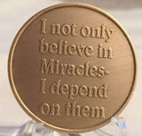 Bulk Lot of 25 - Expect Miracles Bronze Medallion - RecoveryChip