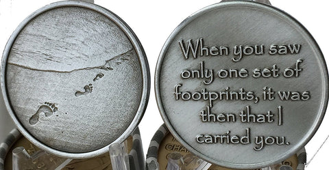 Footprints In The Sand Pewter Color Medallion Chip Pocket Token - RecoveryChip