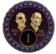 AA Founders Purple Tri-Plate Crystal Velvet Swarovski Crystals Year 1 - 50 - RecoveryChip