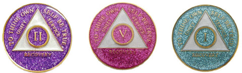 24 Hours AA Medallion Purple or Pink or Aqua Glitter Tri-Plate Sobriety Chip - RecoveryChip