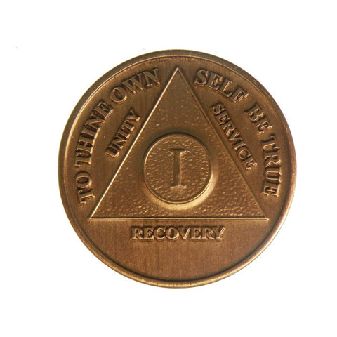 Bulk Pack 1 Year Bronze AA Medallion Sobriety Chips - RecoveryChip