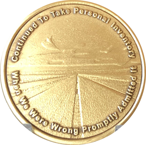 Step 10 Personal Inventory Daily Reprieve AA Sobriety Medallion Chip - RecoveryChip