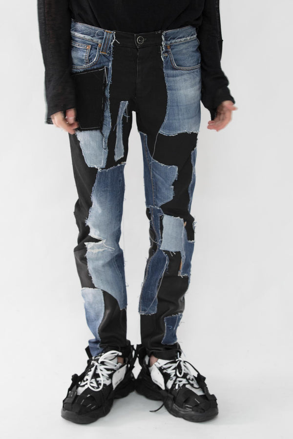 Patch Work Leather Jeans