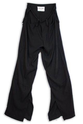CARL IVAR PATHCED WOOL BLEND PANTS