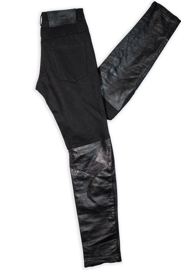 CARL IVAR DENIM FUSED LEATHER PANTS